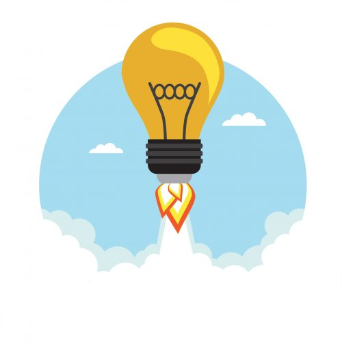 Bulb Rocket flying in the sky. Vector illustration
